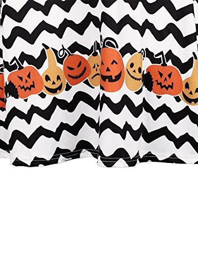 Vestito da Halloween delle donne Womens Maniche lunghe Stampa di onde e zucca Halloween vestito swing swivel Dress nero vestito mini