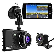 CHORTAU Dual Lens Dash Cam Full HD 1080P 170° 4.0 inch Screen Front Camera and Waterproof Rear Camera, Dashboard Car Camera with G-Sensor, Loop Recording, Motion Detection, Parking Monitor, WDR