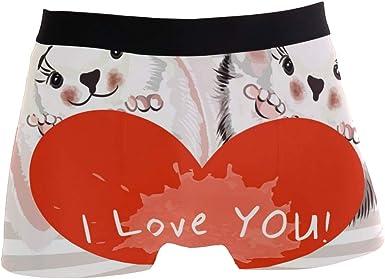 SUABO Men Boxer Briefs Polyester Underwear Men 2 Pack Boxer Briefs for Valentines Day