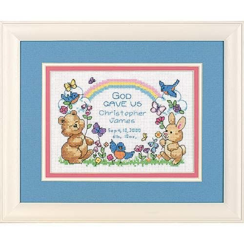 Dimensions Counted Cross Stitch Kit 'God's Babies' Birth Record Personalized, 14 Count White Aida, 7'' W x 5'' H