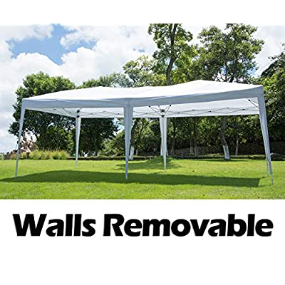 Easyzon 10 x 20FT Pop Up Patio EZ Canopy Tent Heavy Duty Gazebo Pavilion Outdoor Party Commercial Instant Tents Impact Canopies with Sidewalls, White (1020ft White with sidewalls) : Garden & Outdoor