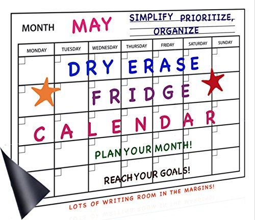 Dry Erase Calendar for Fridge - Magnetic White Board Planner Organizer – Large Reusable Whiteboard - FREE Black Magnet Marker and Eraser