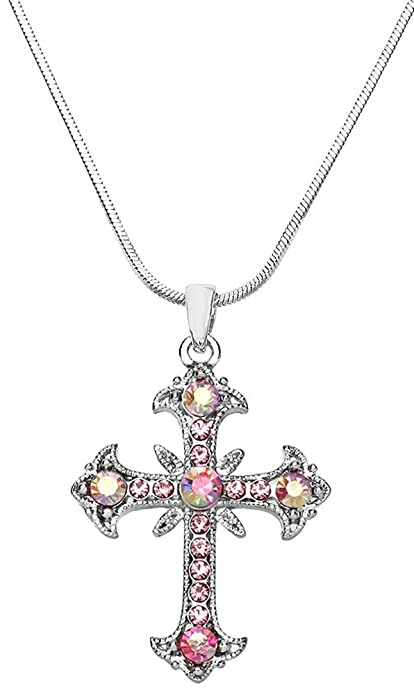 dbcbb44cf023f Cross Necklace for Women, Teen Girls Silver Tone Crystal Cross Pendant  Necklace