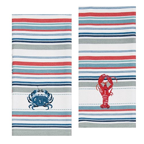 Kay Dee Designs Lobster & Crab Stripe Embroidered Towel - Decor Lobster