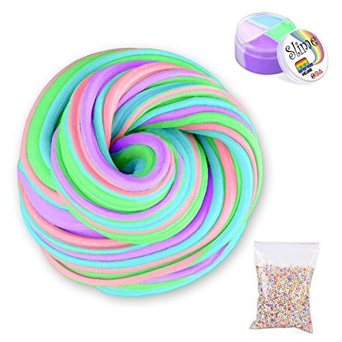 Giant Foam Ball (Fluffy Slime with Foam Balls - Meland Jumbo Fluffy Floam Slime Stress Relief Toy Scented Sludge Toy for Kids Adults 4 Colors 6 Ounce, ASTM Certified)