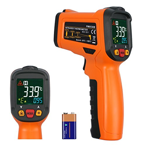 Rhinoco Digital Laser Temperature Gun Infrared Thermometer Gun Non-contact Meat BBQ Cooking Thermometer Gun -58 F 1022 F Large Color Backlit Display with 12 Point Aperture Temperature Alarm Function