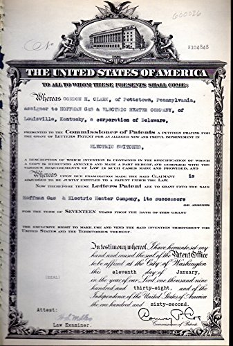 Patent#2104848, Granted to Gordon H. Clark, Assignor to Hoffman Gas & Electric Heater Company... for an Alleged New & Useful Improvement in Electric - Heater Electric Hoffman