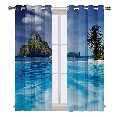 SATVSHOP Patterned Drape for Glass Door - 72W x 84L Inch- Waterproof Window Curtain.House Landscape with Swimming Pool and Distant Island Tropical Exotic Hawaiian Dream Theme Turquoise -