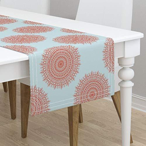 (Table Runner - Medallion Sundial Coral Sky Blue by Littlerhodydesign - Cotton Sateen Table Runner 16 x 108)