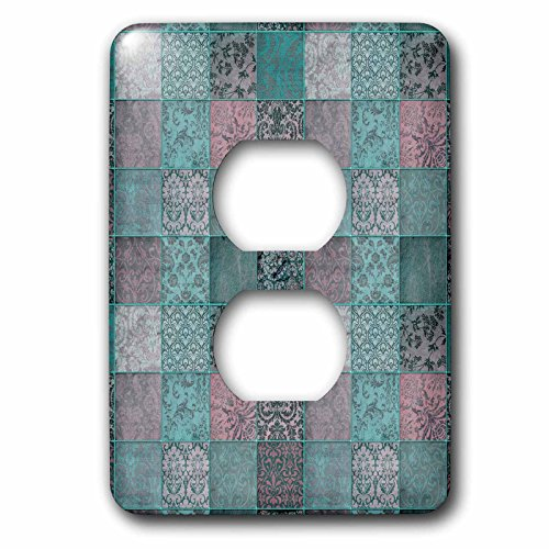 3dRose Andrea Haase Allover Pattern - Vintage Fabric Patchwork Pattern In Dark Pastel Colors - Light Switch Covers - 2 plug outlet cover (lsp_268409_6) by 3dRose (Image #1)