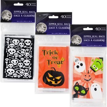 40pcs Clear Halloween Jack-O-Lantern Flat Cello/Cellophane/Loot Treat Zip Seal bags 3.75x 5.75 for $<!--$3.95-->