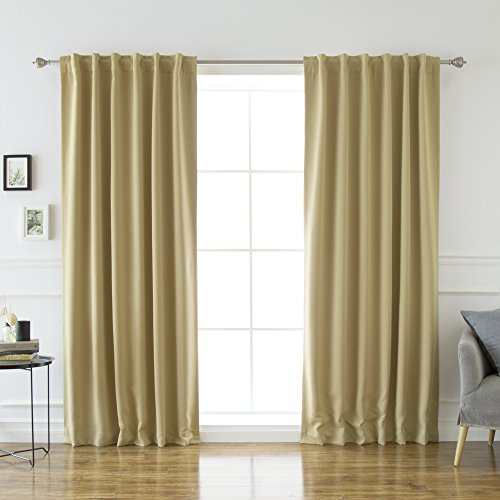 Best Home Fashion Thermal Insulated Blackout Curtains - Back Tab/Rod Pocket - Wheat - 52