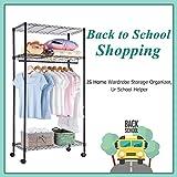 JS HOME Wardrobe Storage Organizer/Garment Rack with Wheels, One Hanging Rod - Black