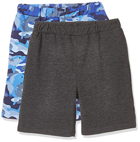 Kid Nation Kid's Lightweight French Terry 2 Packs Solid French Terry Casual Shorts M Blue Camouflage+Hemp Black