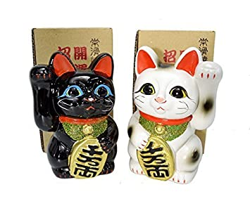 Made in Japan Lucky Cat 5.1 Tokoname Porcelain Black White Pair Maneki Neko