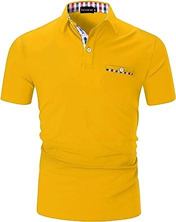 YCUEUST Polo Hombre Manga Corta Camisetas Deporte Clásico Plaid Cuello T-Shirt: Amazon.es: Ropa y accesorios