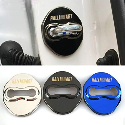 Infinity-Deal 4PCS Stainless Steel Car Door Lock Cover Protective Case Sticker for Mitsubishi Ralliart Sports Replacement Styling Auto Accessories (Black)