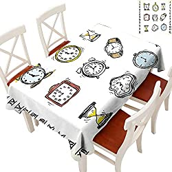Clock Tablecloth Heavy Weight A Collection of Vintage Style Watches and Doodled Clocks Hand Drawn Illustration for Kitchen Dinning Tabletop Decoration White and Black 60 × 120