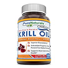 Pure Naturals 100% Pure & Premium Omega Krill oil 1000 Mg per serving 120 Soft gels- *Superior Bio-availability, Supports Heart joint & Brain Health *