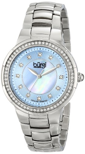 Burgi Women's BUR093BU Silver Crystal Accented Swiss Quartz Watch with Blue Mother of Pearl Dial and Silver Bracelet - Blue Pearl Quartz