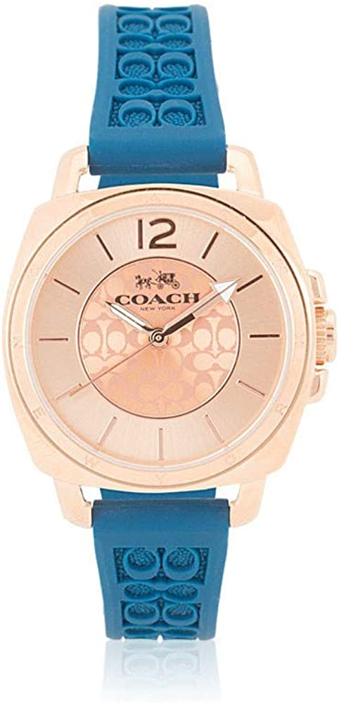 Coach Women s 14502095 Mini Boyfriend Signature Blue Strap Rose Gold Tone Watch