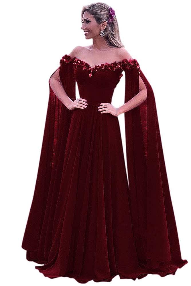 Burgundy Harsuccting Elegant 3D Flower Long Sleeve Corset Evening Prom Dress