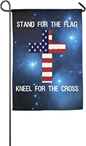 Love fled Garden Flag, Patriotic Stand for The Flag Kneel for The Cross Decorative Flag for Thanksgiving Home Outdoor Garden Decor