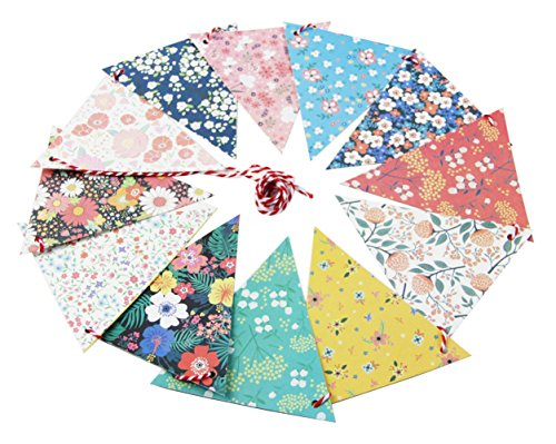 SUNBEAUTY Mix Pattern 3M Triangle Flags Vintage Bunting Floral Banner Kit Garland For Wedding Festivals Nursery Outdoor Hanging Decoration (Floral Flags)