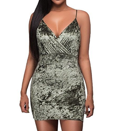 Tiksawon Womens Sexy Wrap V Neck Ruched Velvet Party Mini Dress L Olive Green