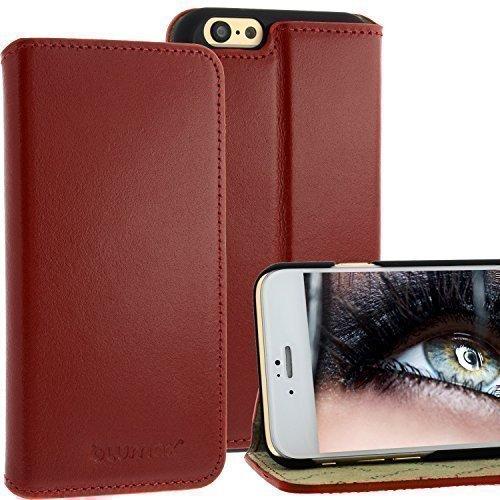 Thin Bookstyle Ledertasche für Apple iPhone 6 Rot mit Standfunktion von Blumax Echt Leder