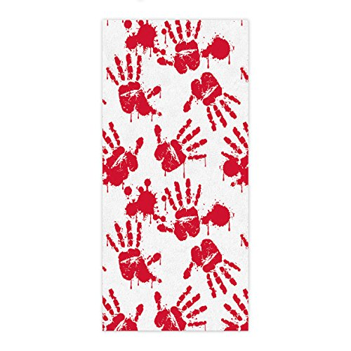 Lovingin Premium Quality Bath Towel Fast Drying Halloween Bloody Handprint Horror Themed Artwork Super Absorbent Beach Towel, 27.5 x 55 inch -