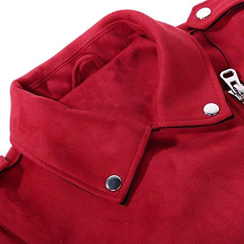 Rosso Highplus Breve Cappotto Donne Colore Solido Girano Inverno Cerniera Giù Camoscio fxzfrqgw
