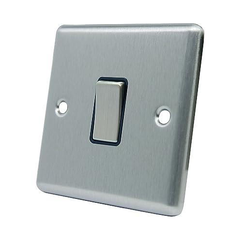 Double Light Switch 2 Gang - Satin Chrome - Square - Black - Metal ...