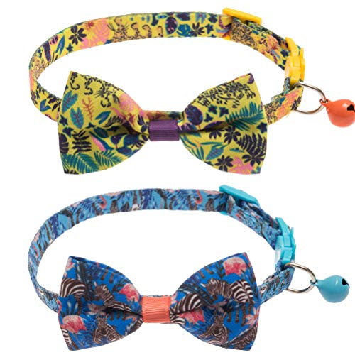 SCIROKKO 2 Pack Cat Collar with Bell - Hawaii Style - Breakaway and Adjustacle - Fit Kitty Puppy - Yellow & Blue