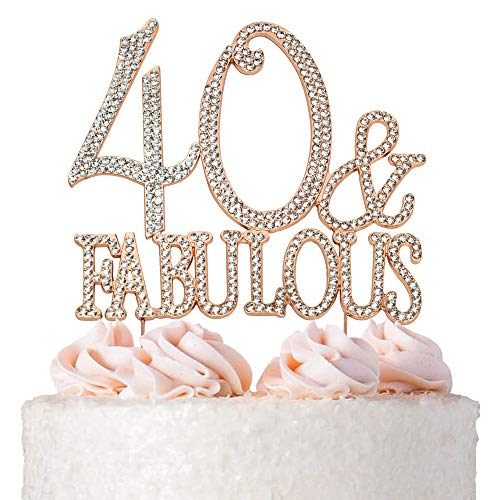 40 and Fabulous ROSE GOLD Cake Topper |
