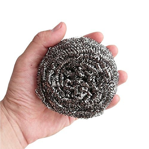 Hulless (Set of 4) Stainless Steel Sponges Scrubbers, Utensil scrubber, Metal Scouring Pads, Stainless Steel Scourer Pot Brush, Kitchen cooking utensil Cleaning tools, 60g/pcs. Stainless Steel Scouring Sponge