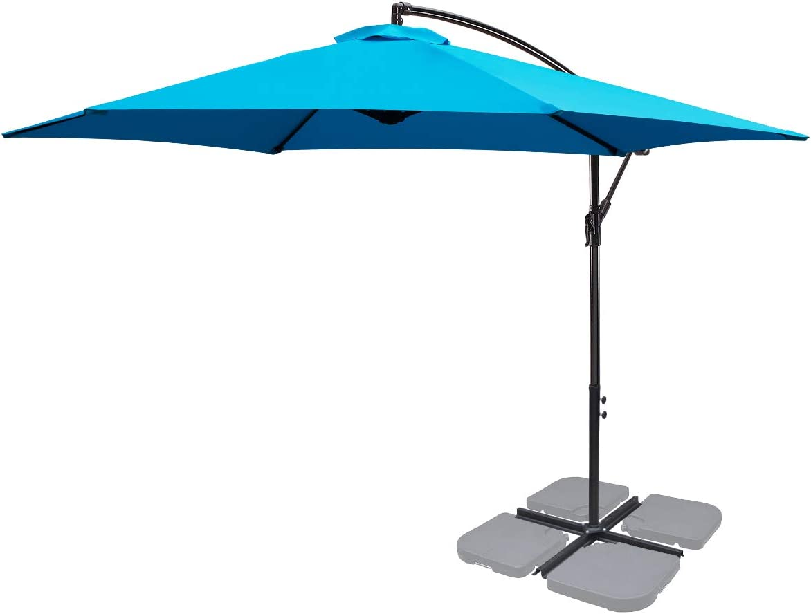 FRUITEAM 10-ft Offset Hanging Umbrellas, Garden Patio Outdoor Swimming Pool Umbrellas Large Market Umbrella with Crank Cross Base, Waterproof UV Protection Cantilever Umbrella Blue