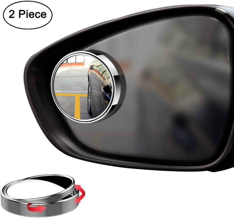 White, Pack of 2 Ampper Blind Spot Mirror 2 360 Degree Adjustabe HD Glass and ABS Housing Convex Round Stick-On Mirror for Car