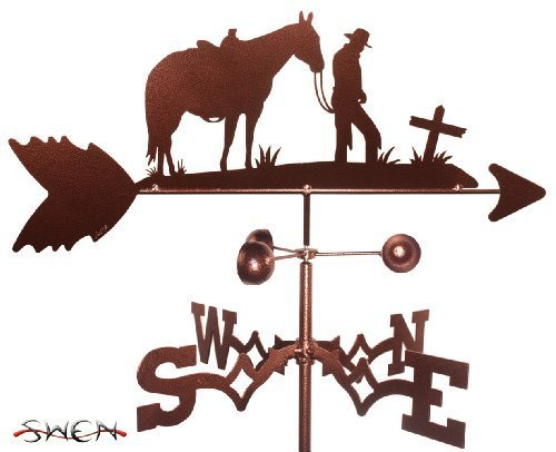 Horse Outdoor Post Mount (Hand Made COWBOY and CROSS HORSE FLAT POST Mount Weathervane ~NEW~ by SWEN Products)