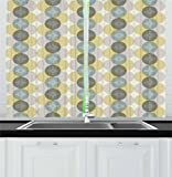 Lunarable Circle Kitchen Curtains, Flower of Life Design Vintage Fifties Midcentury Atomic Art Movement Inspired, Window Drapes 2 Panel Set for Kitchen Cafe, 55 W X 39 L Inches, Grey Sephia Beige Review