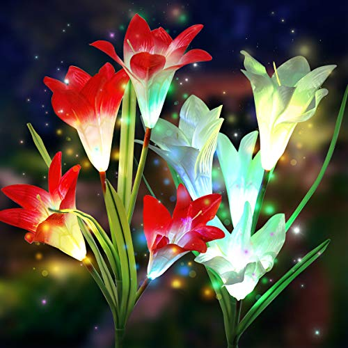 Solar Flower Lights Outdoor, Elfeland Multi-Color Changing Lily Lights LED Solar Garden Lights Upgraded Solar Stake Lights for Path Yard Patio Backyard Decoration(2 Pack,Red and White)