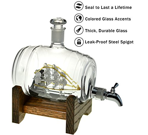 Bourbon-Barrel-Decanter-or-Whiskey-Dispenser-1000ml-Glass-Decanter-for-Liquor-Vodka-Scotch-Mouthwash-Tequila-Wine-Tomoka-Gold-by-Prestige-Decanters