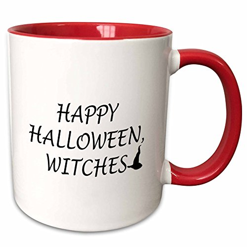 3dRose Tory Anne Collections Quotes - HAPPY HALLOWEEN, WITCHES - 15oz Two-Tone Red Mug (mug_221094_10) -