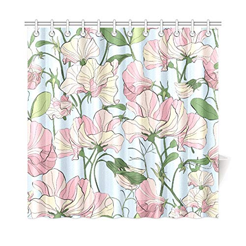 AIKENING Home Decor Bath Curtain Sweet Peas Hand Painted Flowers Polyester Fabric Waterproof Shower Curtain for Bathroom, 72 X 72 Inch Shower Curtains Hooks Included