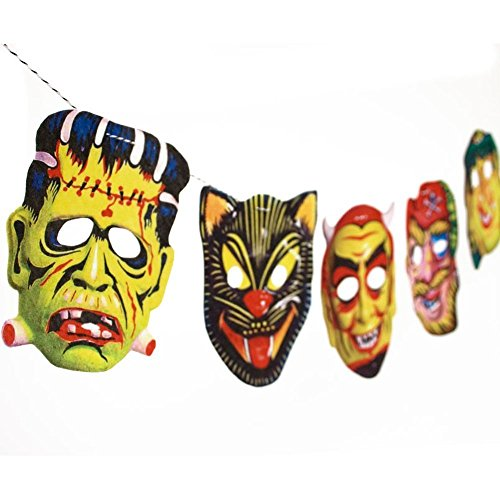 [Handmade Vintage Halloween Masks Garland - photo reproductions from the 60's on felt] (Cute Halloween Pictures Of Cats)