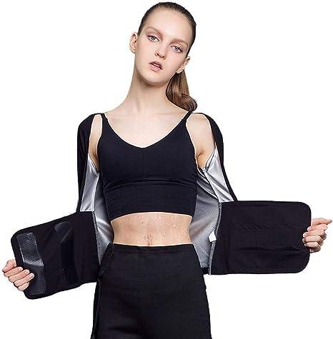Camisa de adelgazamiento con sudor caliente para mujer, fajas de pérdida de peso de manga corta, camisa de entrenamiento para mujer Cremallera de body shaper Chaqueta de fitness delgada Gym Fat Burner: