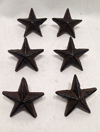 Cast Iron Star Pulls SET OF 6 Cabinet Furniture Door Drawer Knobs Handles Home Decor ()
