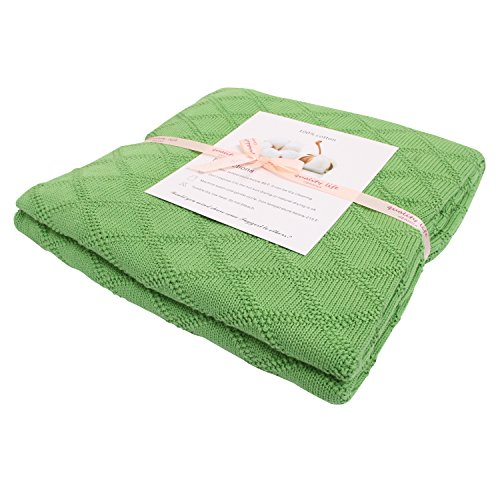 Green Gift Picnic (Adory Sweety Baby Soft Knit Throw Blanket with 100% Cotton for Couch Chairs Beach Sofa Picnic,50 x 60 inch, As Gift with Free Washing Bag (Green))
