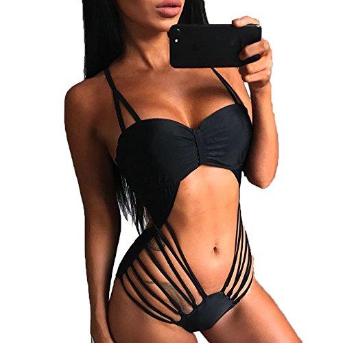 hqclothingbox Womens Sexy Bikinis Set Bandage One-piece Solid Swimsuit