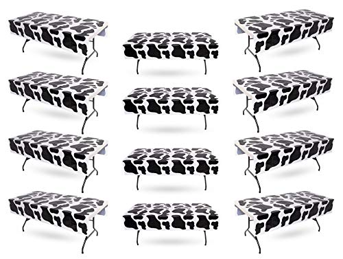 (Cow Print Tablecloth Bulk Pack of 12 Plastic Table Covers – Birthday Party, Carnival, Farm Animal, Party Supplies, 54